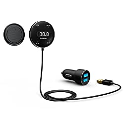 Lumsing® Bluetooth 4.0 In Car Kit Adapter Hands-Free Wireless Calling Streaming Dongle LCD Screen FM Transmitter +10W USB Charger + Magnetic Mounts (Microphone/ APTX/ Siri / Google Voice)