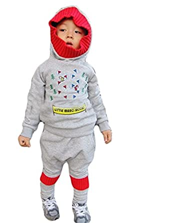 Unisex Baby Boys Girls Christmas Tree Pattern Pointy Hat Hoodie Tops + Pants Outfits