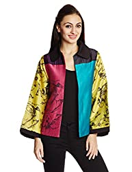 Quirkbox Women's Viscose Jacket (QRW3PBJK-S_Multi-Color)