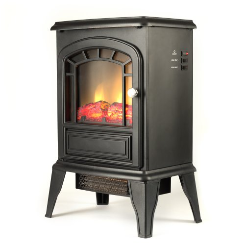 Aspen Free Standing Electric Fireplace Stove 23 Inch Black Portable Electric Vintage Fireplace