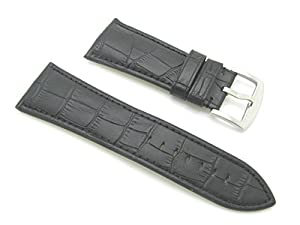 30mm Leather Alligator Grain Black Watch Band with Spring Bars