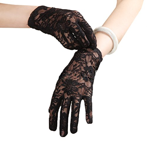 Linabridal Women's Vintage Sheer Floral Lace Wrist Length Wedding Gloves YT026WT-Black
