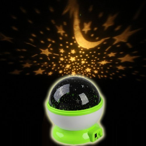 Xhan Room Night Light Lamp Rotary Flashing Starry Star Moon Sky Cosmos Projector (Green) front-16233