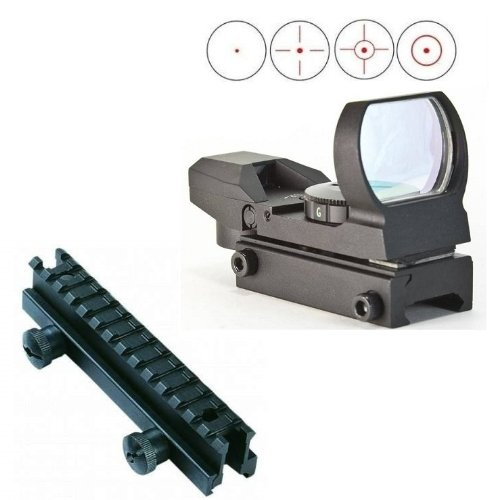 "Global Sportsman Scope Packege Includes: Tactical Combat Military Four 4 Separate Reticle 7 Brightness Settings Red Dot Tubeless Open Reflex Design Sight With Weaver-Picatinny Rail Base Mount + Qd Tactical 1"" Weaver-Picatinny High See Thru Stanag Riser Mo"
