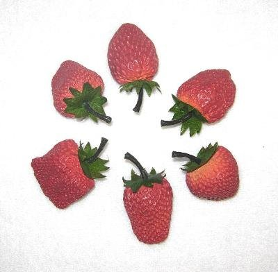 6 Faux STRAWBERRY Kitchen Home Decor Strawberries Fruit Photo Prop