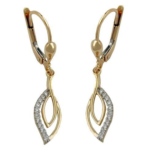 32x6 mm Cubic Zirconia Hook Earrings 375 Yellow Gold Women's Earrings