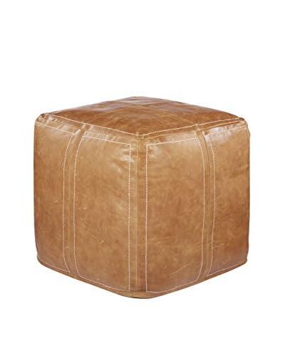 Nikki Chu Brown Leather Pouf, Brown