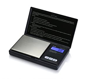 American Weigh Scales AWS-1KG-BLK Signature Series Black Digital Pocket Scale, 1000 by 0.1 G