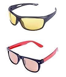 Aoito Wayfarer Sunglasses (Black & Red) + Aoito Wayfarer Sunglasses (Red) (Ao-N&Drd-12)