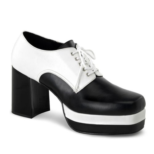3 1/2 Inch MENS SIZING Black White Pimp Rocker Costume Shoes Lace Up Oxfords