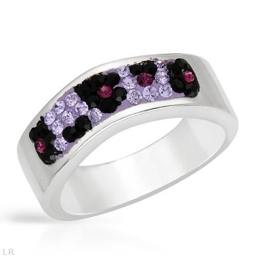 Ring With Genuine Crystals Well Made in Two tone Enamel and 925 Sterling silver. Total item weight 6.9g (Size 7)