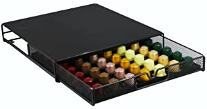 DecoBros Coffee Pod Storage Mesh Nespresso Drawer holder for 56 Capsules, Black by Deco Brothers