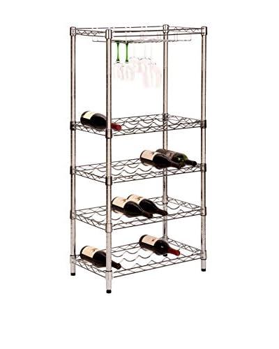 Honey-Can-Do 5-Tier Wine Rack, Chrome