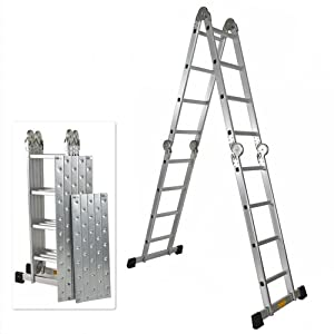 330LB 15.5' Step Platform Multi Purpose Aluminum Folding Scaffold Ladder EN131