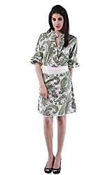 AARR green printed A-line knee length half sleeves cotton dress