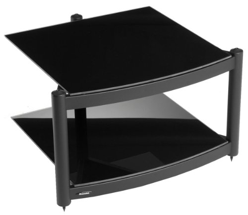 Atacama Equinox Hi Fi 2 Shelf Base Module Black + Piano Black Glass