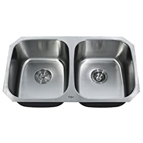Kraus 32 inches Undermount 50/50 Double Bowl 18 gauge Stainless Steel Kitchen Sink