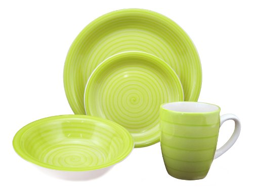 Lorren Home Trends 16-Piece Stoneware Dinnerware Set, Green