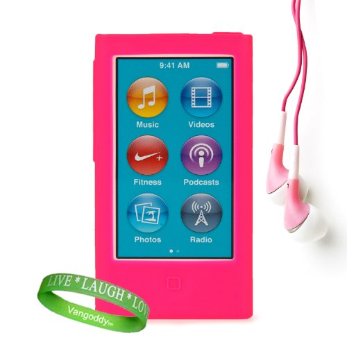 Uniquely Vibrant Pink Silicone Skins For All Models Of The Apple Ipod Nano 7 (7Th Generation, 7G, Slate, Blue, Pink, Purple, Yellow, Silver, 16Gb, 32Gb, 64 Gb, Newest Model) + Ipod Nano 7 Compatible Earbud Earphones + Vangoddy Brand Wrist Band