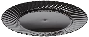 "Classicware CW10144BK 10.25"" Black Dinnerware Plastic Plate (18 Packs of 8)"