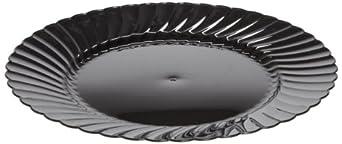 """Classicware CW10144BK 10.25"""" Black Dinnerware Plastic Plate (18 Packs of 8)"""