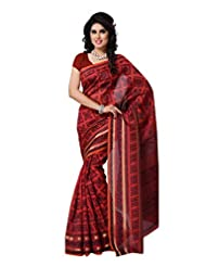 101cart Rust Color Art Silk Party Wear Saree - B00RHSBCJ6