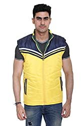 Sleeveless Quilted Jacket for Men by COLORS & BLENDS - Yellow - M size