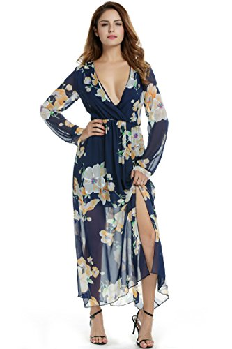 Zeagoo Women Chiffon V-Neck Long Sleeve Slit Floral Long Maxi Party Beach Dress (X-Large, Dark Blue)