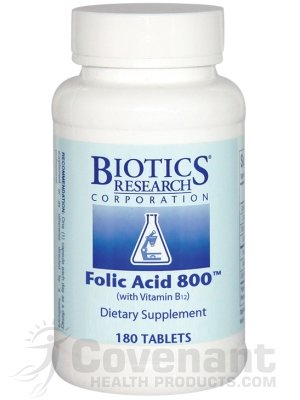 Biotics Research - Folic Acid 800 (With B12) 180T