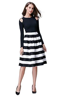 Hika Women's High Elastic Waist Flare Pleated A-line Midi Skirt