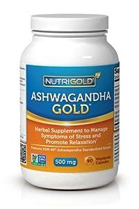 Nutrigold Ashwagandha Gold (Organic) (Clinically-proven KSM-66), 500 mg, 90 veg. capsules