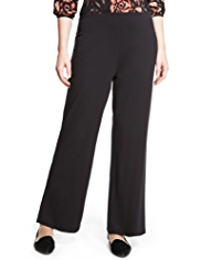 Plus Wide Leg Plain Stretch Trousers