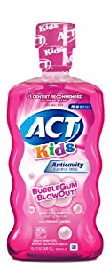 ACT Kids Anticavity Fluoride Mouthwash, Bubble Gum Blow Out , 18-Ounce Bottles (Pack of 4)