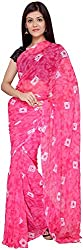 S R Couture Women's Georgette Saree with Blouse Piece (Pink)
