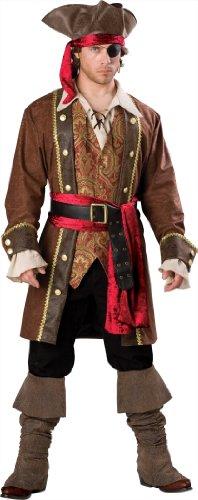 InCharacter Costumes, LLC Men's Captain Skullduggery Costume, Brown, Medium
