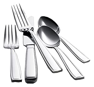 Waterford Glenridge 18/10 Stainless Steel 65-Piece Flatware Set, Service for 12 with 5-Piece Hostess Set, Complete with a Waterford Flatware Chest. Distributed by Reed & Barton