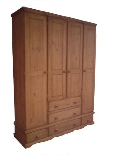 Wye Pine Bespoke Quad Wardrobe with 5 Drawers - Finish: Wax - Stain: Waterbased