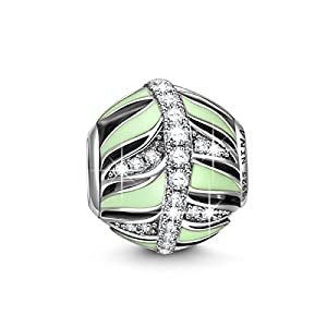 NinaQueen® **Feather** 925 Sterling Silver Cubic Zirconia Green Color Design Charms Fits Pandora Bracelets *Ideal Gift For your mother,wife and your friends on Birthday, Thanksgiving Day and Christmas Day*
