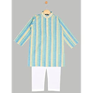 boys stripes kurta with bottom,blue(1-2y)