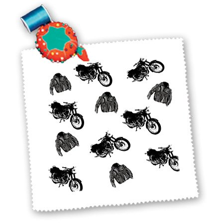 Qs_180340_10 Florene - Décor Ii - Image Of Black Motorcycles And Leather Jackets In A Repeat Pattern - Quilt Squares - 25X25 Inch Quilt Square front-386353