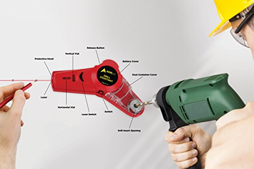 AdirPro Cordless Drill Buddy with Laser Level, Bubble vial and Vacuum Dust Collection, Great for picture hanging and DIY's (Vacuum Laser compare prices)