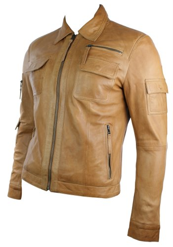 Mens Urban Vintage Short Saints Style Retro Leather Jacket Tan Brown Fitted Casual