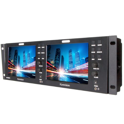 Ikan Kvm-7050W-2 Konvision Dual 7-Inch Rackmount Lcd Monitor (Black)