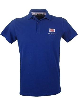 Ben Sherman Polo T Shirt Blue With Union Jack Logo Amazon