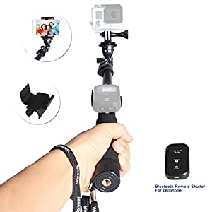 Photo Video Professional Monopod or Selfie Stick with Adjustable Phone Clamp and Bluetooth Remote Control Shutter Release for Gopro Hero 1 2 3 3+4 Digital Camera and iPhone, Samsung,and Other Smartphones