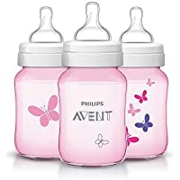 Philips AVENT Classic 9oz Bottle, Pink Ladybug, 3-Pack, BPA-Free ...