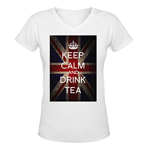 keep-calm-and-drink-tea-graphic-womens-v-neck-t-shirt-xx-large