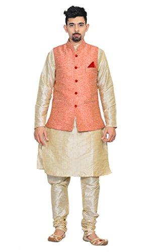 AMG-Mens-Double-tone-Kurta-Churidhar-with-Pink-Waistcoat