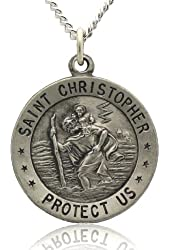 "Saint Christopher Medal Necklace in Solid 925 Sterling Silver ""PROTECT US MEDAL"" 18.5 MM (.72 inch) With Jewelry Gift Box - Patron Saint of Travelers"