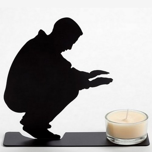 Warming Man Black Metal Tea Light Candle Holder Decorative Unique Gift Artori Design